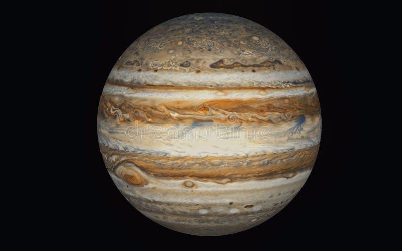 De planeet van Jupiter in zwarte wordt ge?soleerd die stock illustratie
