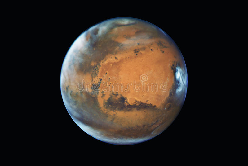 De planeet van Mars, op zwarte wordt geïsoleerd die royalty-vrije stock afbeeldingen