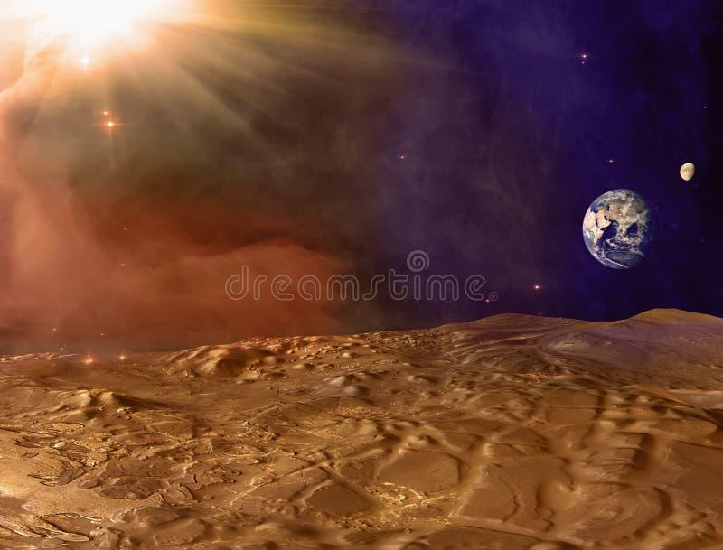 De planeetlandschap van Mars Stofstorm op Mars Aarde en Maan op horizon royalty-vrije illustratie