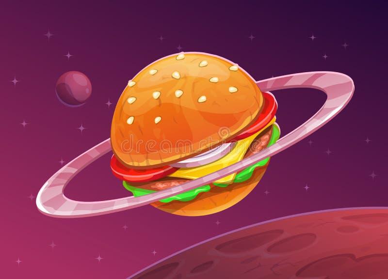 De planeetpictogram van de beeldverhaalhamburger op ruimteachtergrond stock illustratie