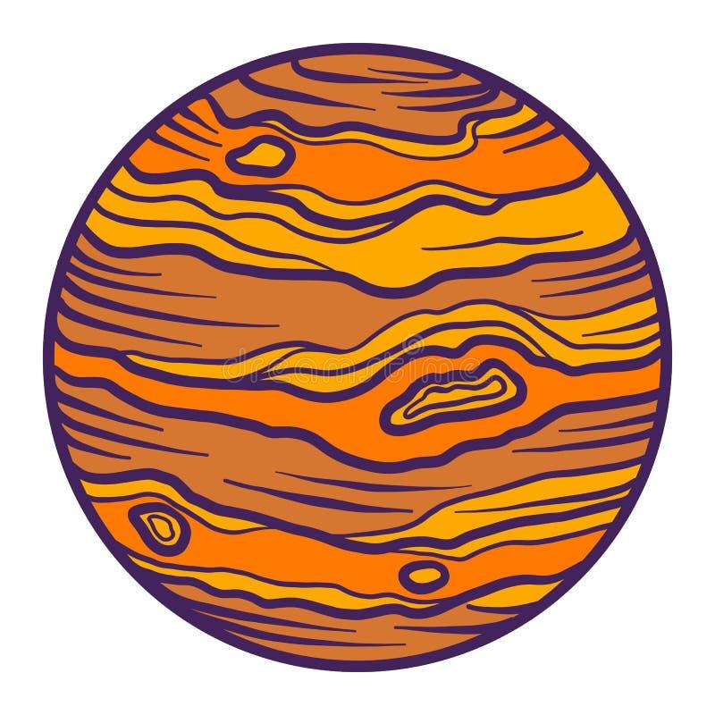 De planeetpictogram van Jupiter, hand getrokken stijl vector illustratie