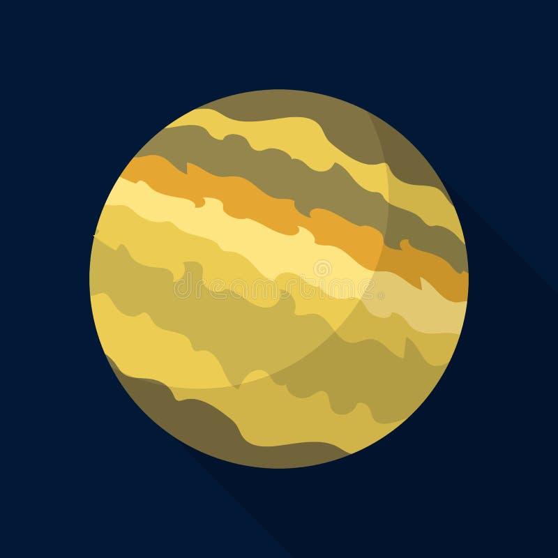 De planeetpictogram van Jupiter, vlakke stijl stock illustratie