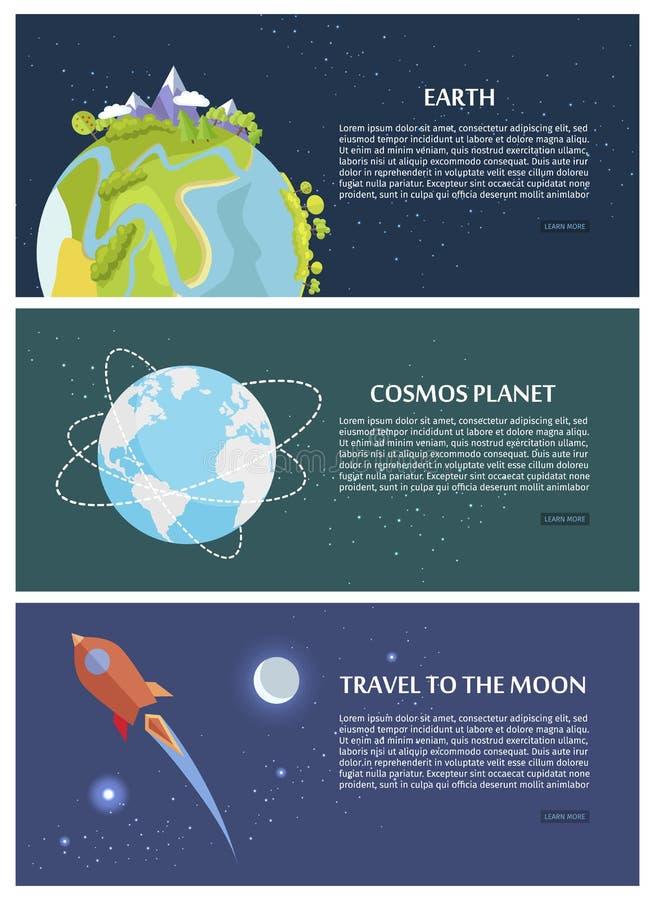 De Planeetreis van de aardekosmos naar Maanconcept stock illustratie