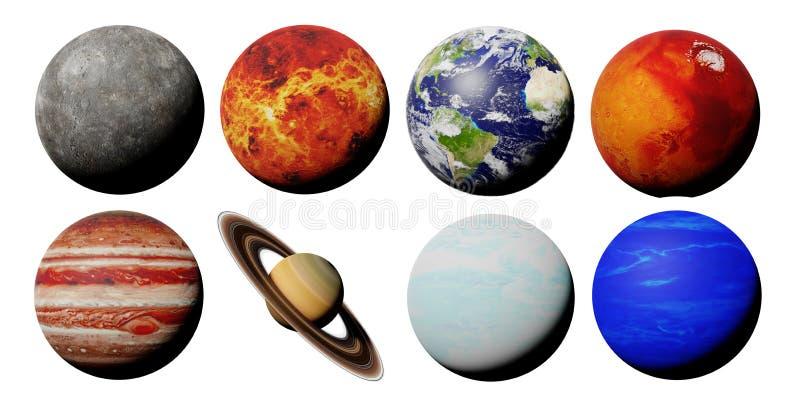 De planeten van het zonnestelsel dat op witte 3d ruimte wordt geïsoleerd als achtergrond geven terug, worden de elementen van dit stock illustratie