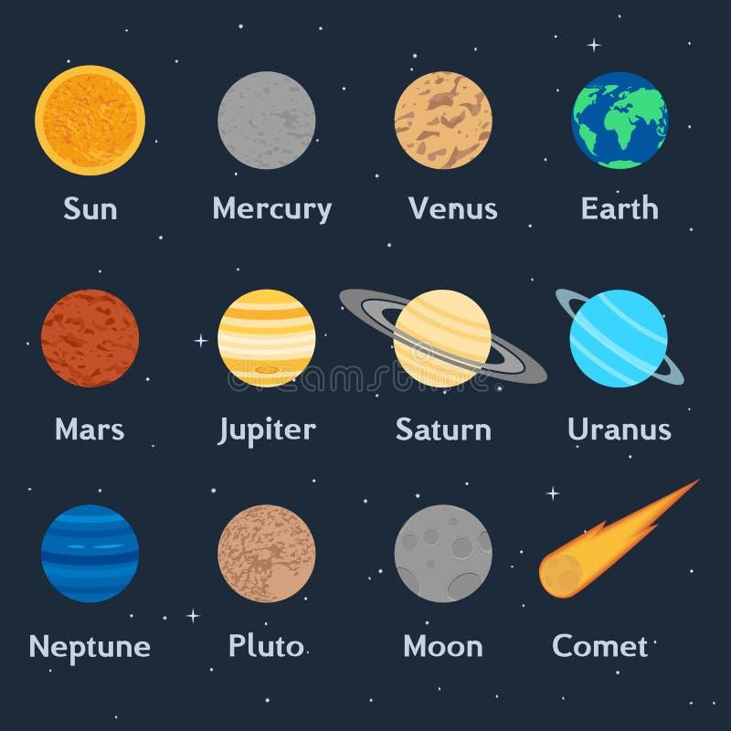 De planeten van het zonnestelsel, de komeet en de maan stock illustratie