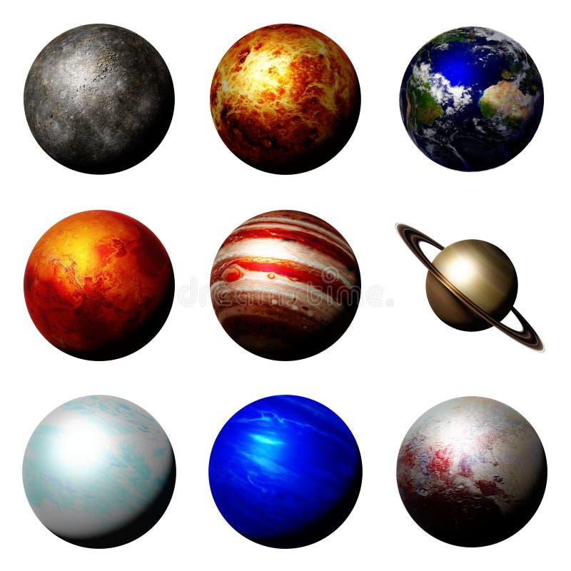 De planeten van het zonnestelsel op witte achtergrond wordt geïsoleerd die stock illustratie