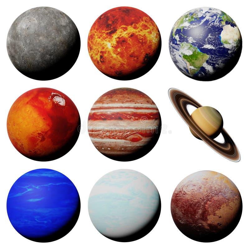 De planeten van het zonnestelsel op witte achtergrond wordt ge?soleerd die vector illustratie
