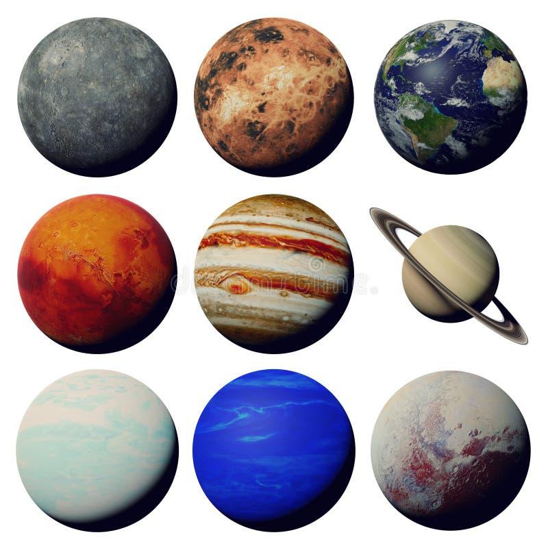 De planeten van het zonnestelsel op witte 3d ruimte wordt geïsoleerd die als achtergrond, worden elementen van dit beeld geleverd stock illustratie