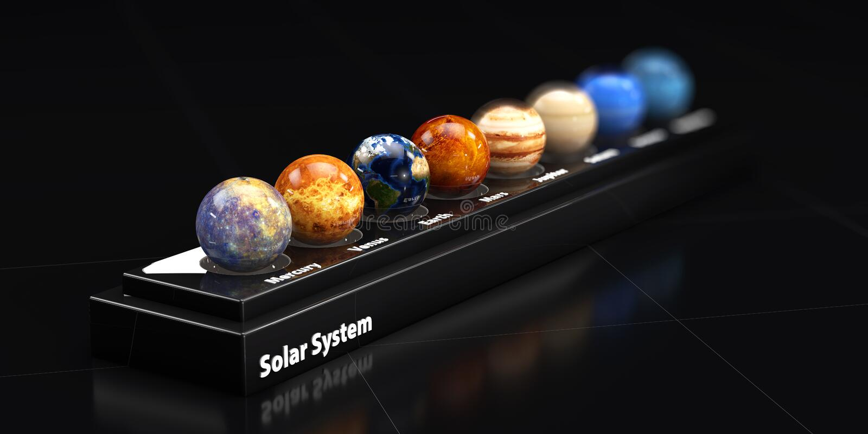 De planeten van ons zonnestelsel Bluredachtergrond, 3d illustratie royalty-vrije illustratie