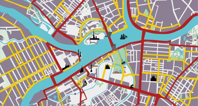 De planillustratie van de binnenstad stock illustratie