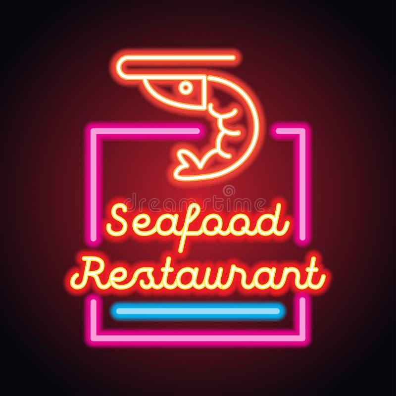 De plank van het het neonteken van het zeevruchtenrestaurant Vector stock foto's