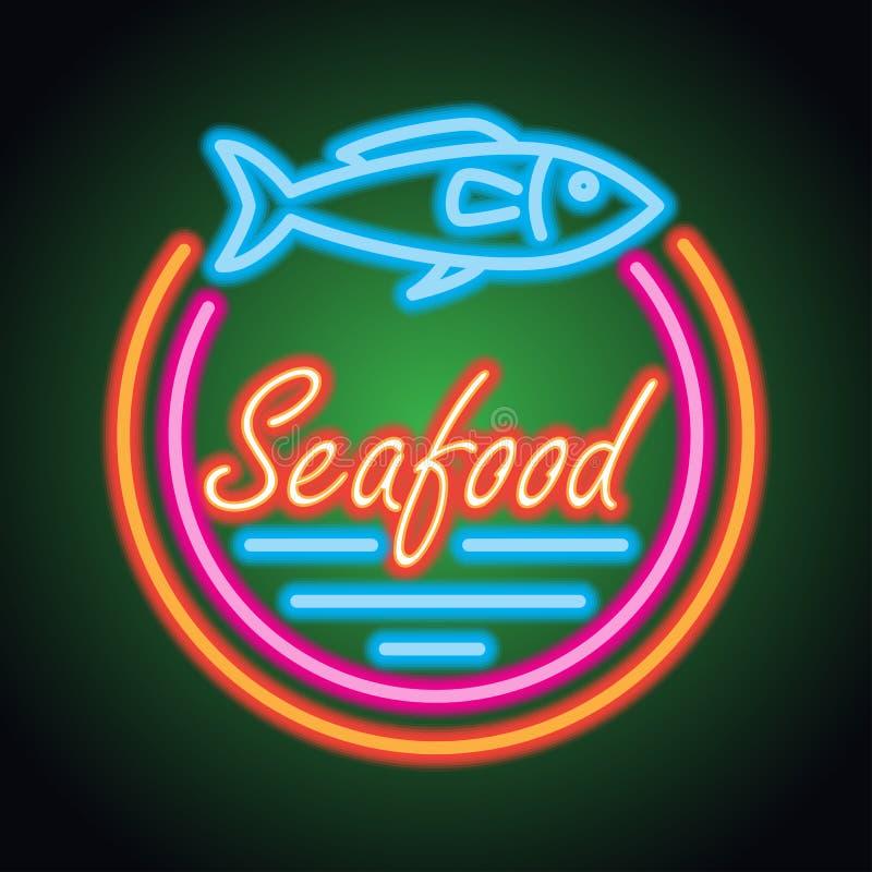 De plank van het het neonteken van het zeevruchtenrestaurant Vector stock afbeelding