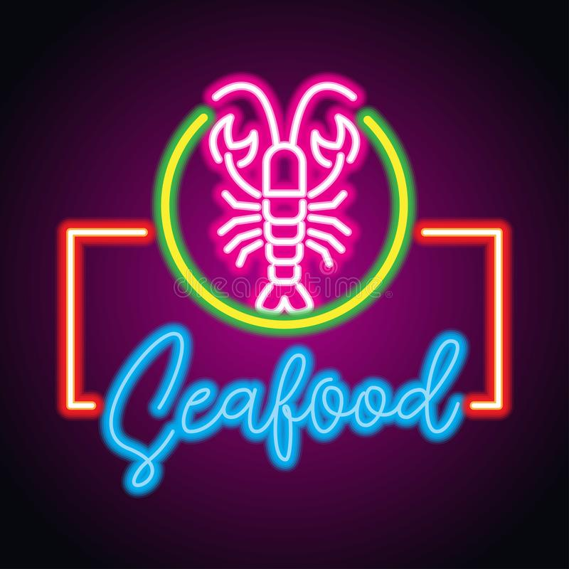 De plank van het het neonteken van het zeevruchtenrestaurant Vector royalty-vrije stock foto