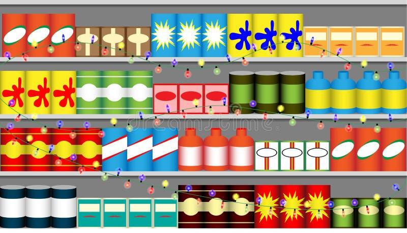 De planken van de supermarkt met slingers stock illustratie