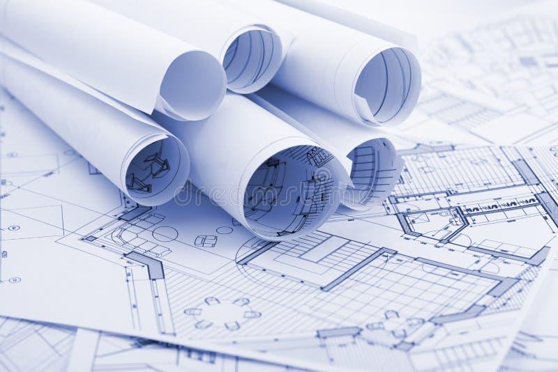 De plannen van de architectuur stock afbeelding