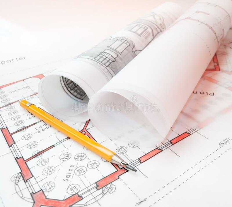 De plannen van de architectuur royalty-vrije stock foto's