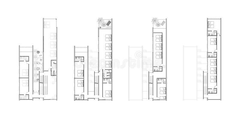 De plannen van de vloer van een architectuurontwerp royalty-vrije illustratie