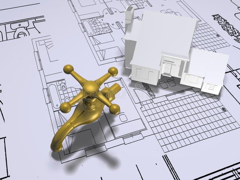 De plannen van het huis met kraan   royalty-vrije illustratie
