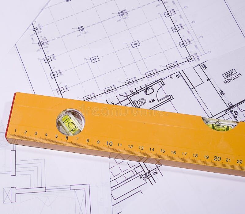 De planning van de bouw stock foto