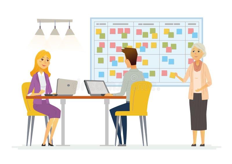 De planningssysteem van bureaukanban - de moderne vectorillustratie van bedrijfsbeeldverhaalkarakters royalty-vrije illustratie