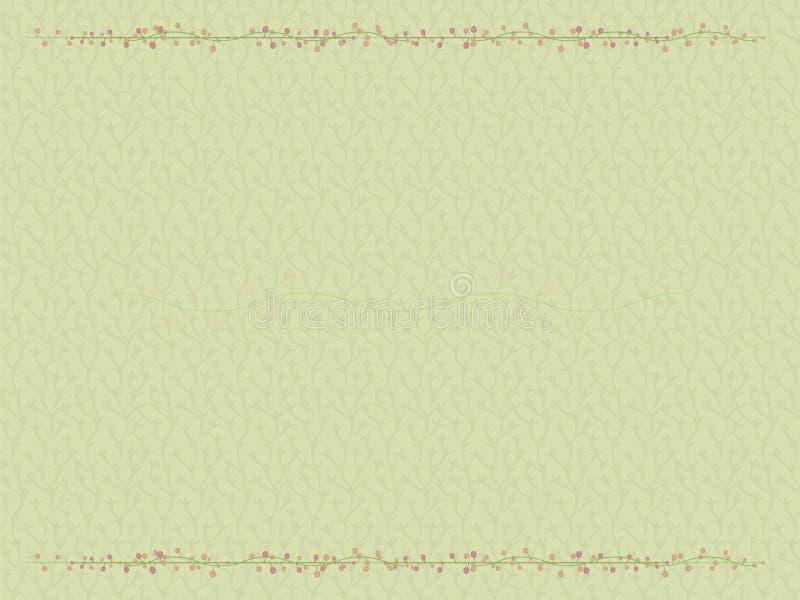 De plantaardige groen lichtachtergrond met een grens van verweven loaches van bevallige bloem vertakt zich met lichte perzik en r vector illustratie