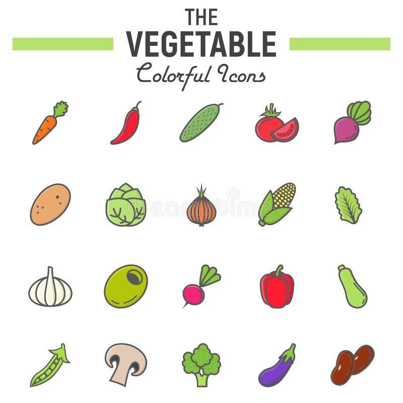 De plantaardige kleurrijke reeks van het lijnpictogram, voedseltekens royalty-vrije illustratie