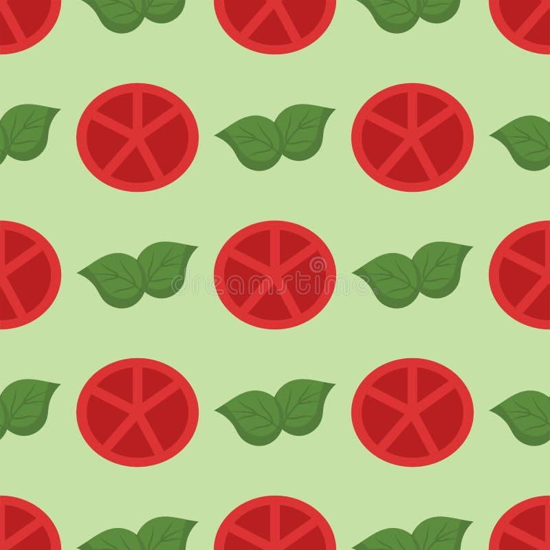 De plantaardige natuurvoeding sneed rode tomaat en bos vector de illustratieachtergrond van het cluster naadloze patroon vector illustratie