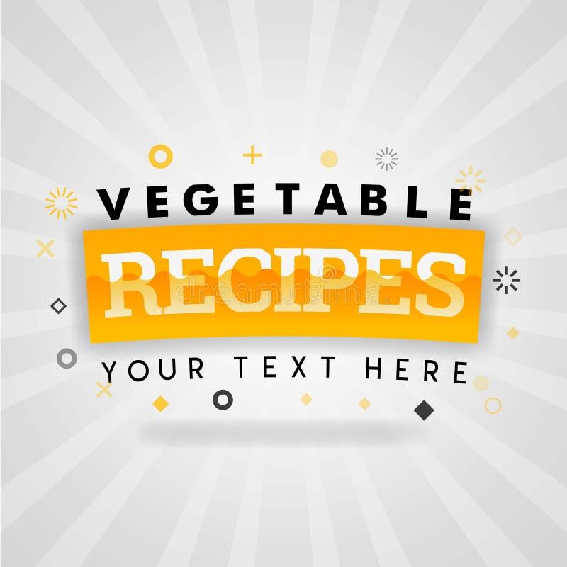 De plantaardige recepten behandelen illustraties voor de receptenboek van het vandaagvoedsel met voedzaam, gemakkelijk en goedkoo stock illustratie