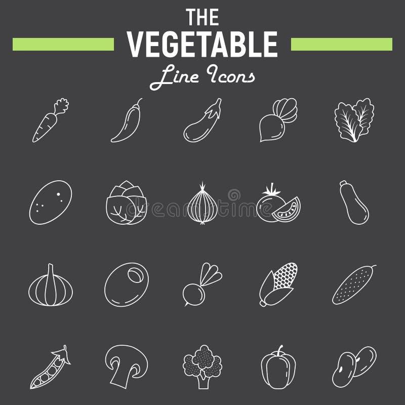 De plantaardige reeks van het lijnpictogram, collectio van voedselsymbolen royalty-vrije illustratie