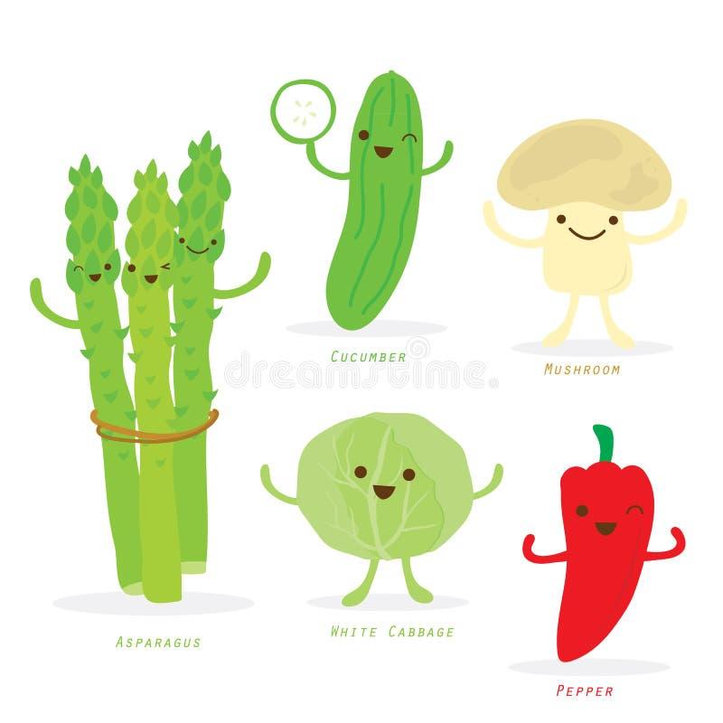 De plantaardige van de de Komkommerpeper van de Beeldverhaal Leuke Vastgestelde Asperge Vector van de de Koolpaddestoel vector illustratie
