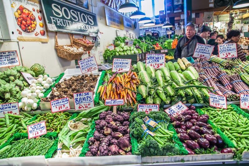 De plantaardige winkel in de Markt van de Snoekenplaats, dit is een beroemde plaats in Seattle, de V.S. royalty-vrije stock foto's