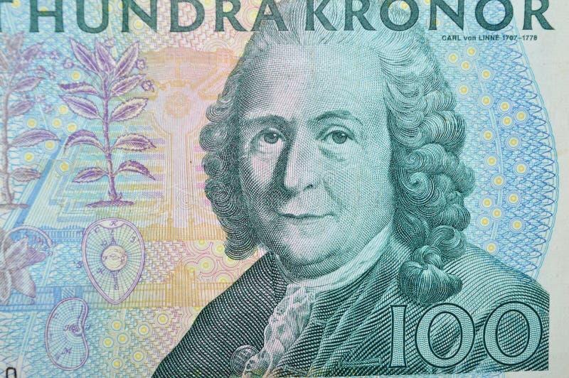 De plantkundigenbankbiljet van Carl von Linne swdish stock afbeelding
