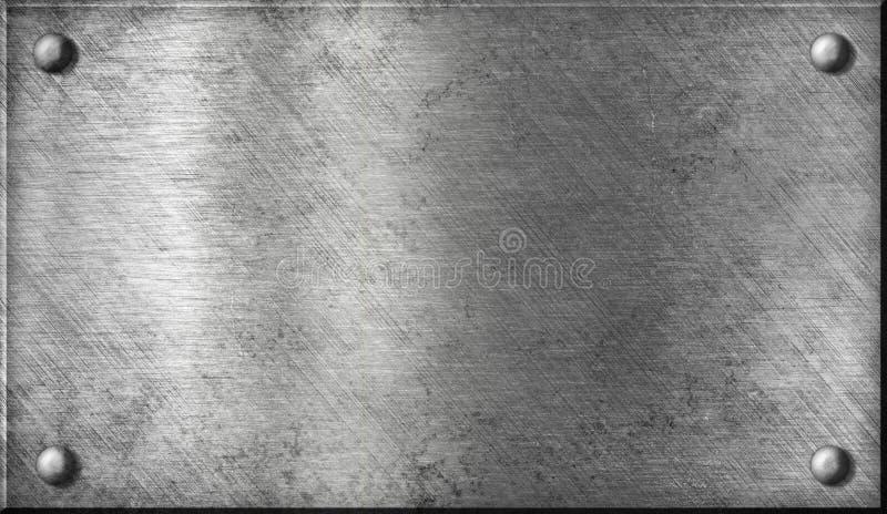 De plaque métallique d'acier ou en aluminium avec des rivets photos stock