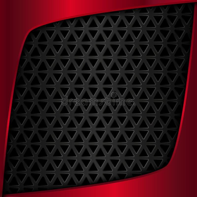 De plaque métallique rouge Noircissez le fond en métal Metal le réseau Modèle géométrique avec des triangles illustration libre de droits