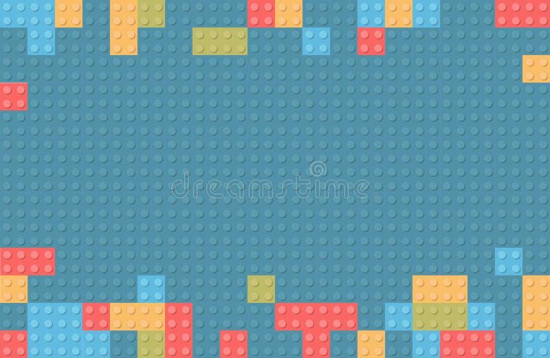 De plastic achtergrond van het bouwblok Kinderenstuk speelgoed de bouwblo stock illustratie