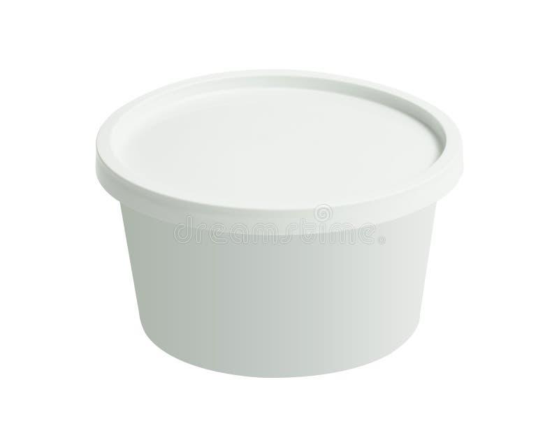 De plastic container van de tonemmer die op witte achtergrond wordt geïsoleerd Lege kop met dekkingsmalplaatje Knippende weg royalty-vrije stock afbeelding