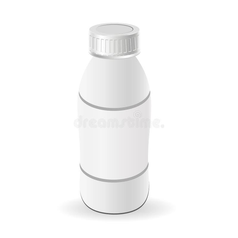 De plastic fles van de malplaatjemelk, yoghurt Lege verpakking geïsoleerd op witte achtergrond pakketmalplaatje Model vector illustratie