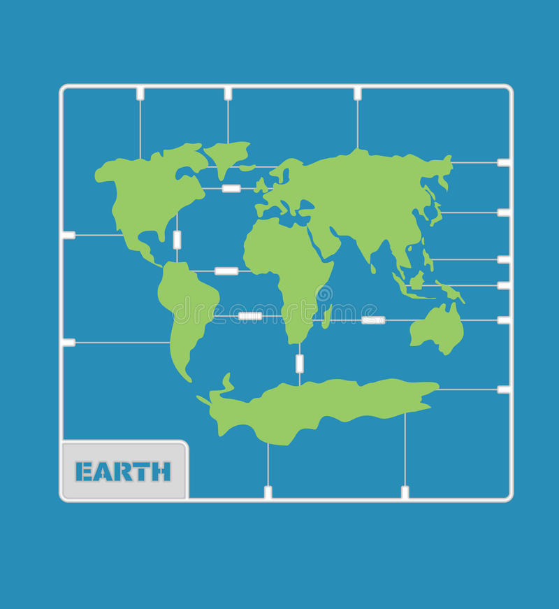De plastic modeluitrusting van de wereldkaart aardrijkskundecontinenten van planeet eart vector illustratie