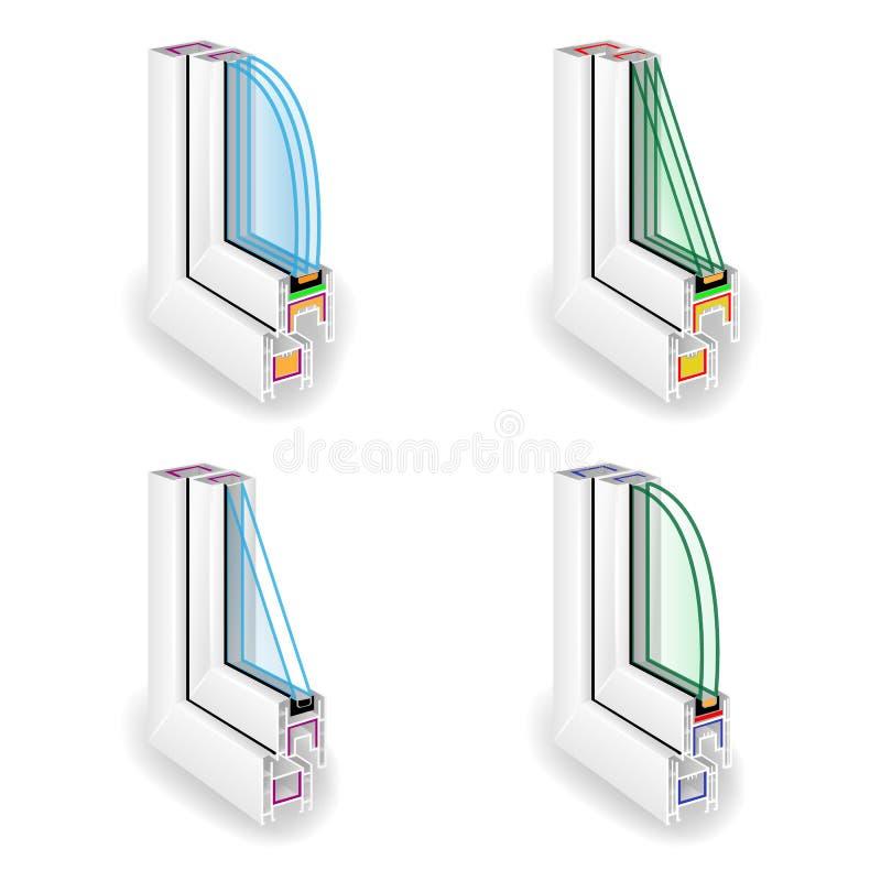 De plastic Reeks van het Raamkozijnprofiel Dwarsdoorsnede van het energie de Efficiënte Venster Transparant Glas twee Drie Vector royalty-vrije illustratie