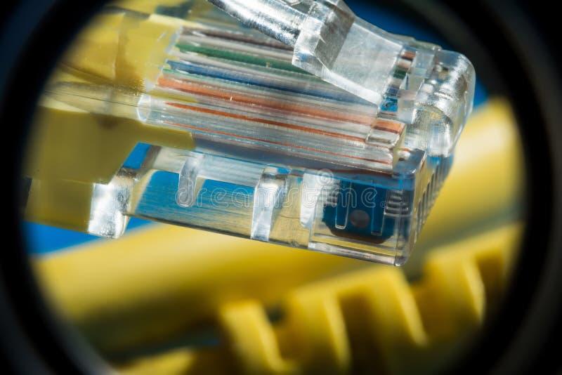 De plastic schakelaar en het gele kabeltype verdraaiden paar voor verbinding aan een computernetwerk, macro abstracte achtergrond stock fotografie