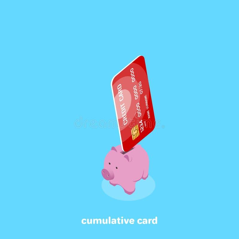De plastic stokken van de besparingenkaart uit piggy piggy royalty-vrije illustratie
