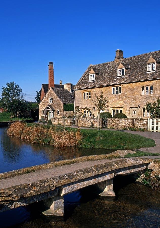 De plattelandshuisjes van de rivieroever, Lagere Slachting, Engeland. stock fotografie