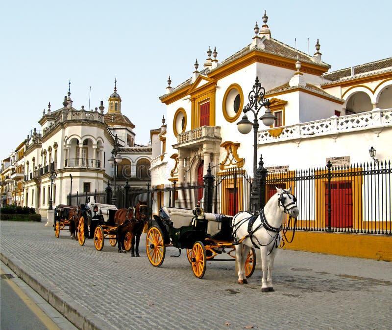 de plaza sevilla toros arkivbild
