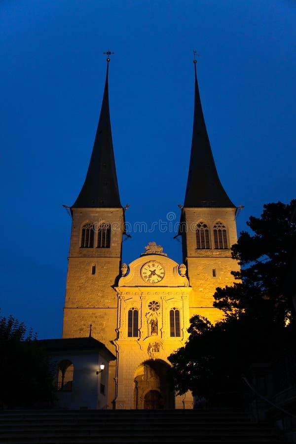 De plechtige kerk - Hofkirche, in Luzerne, Zwitserland stock foto