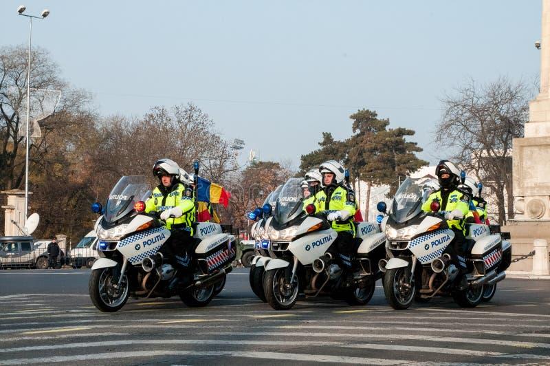 De ploeg van de politiemotorfiets stock afbeeldingen