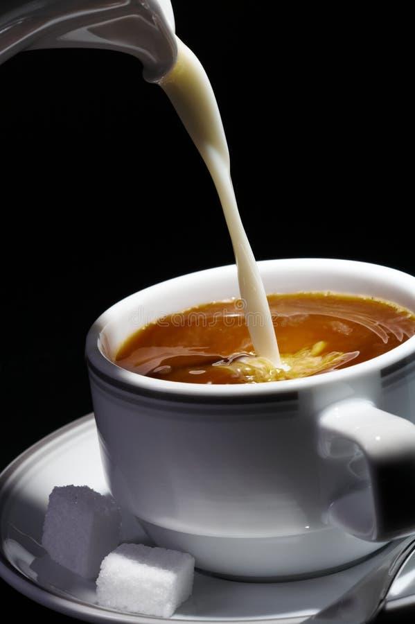 De plons van de koffie