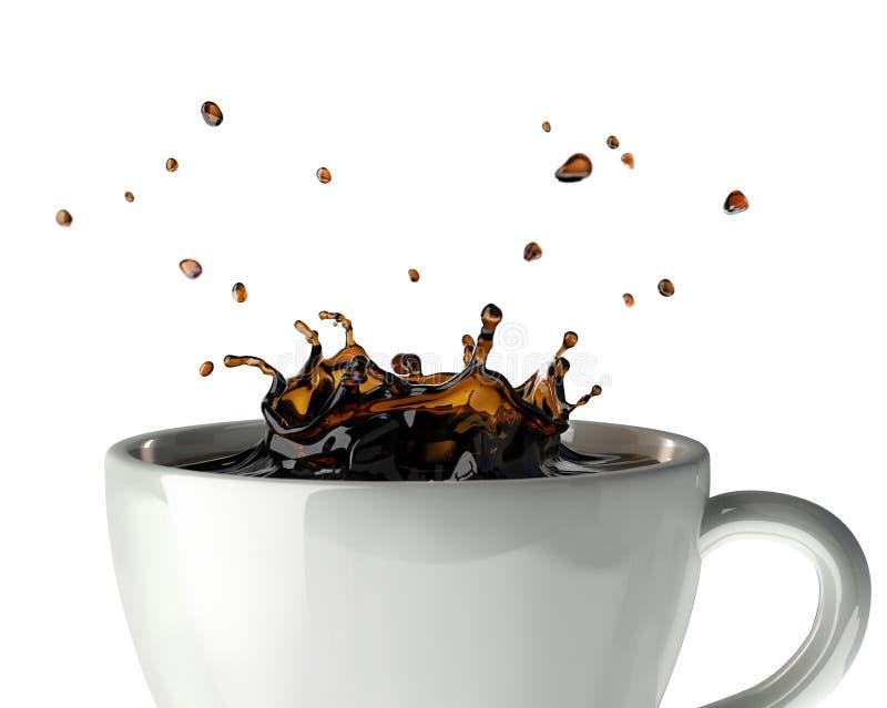 De plons van de koffiekroon in mok. Sluit omhoog mening. royalty-vrije illustratie