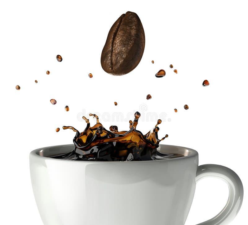 De plons van de koffiekroon in mok. Sluit omhoog mening. stock illustratie