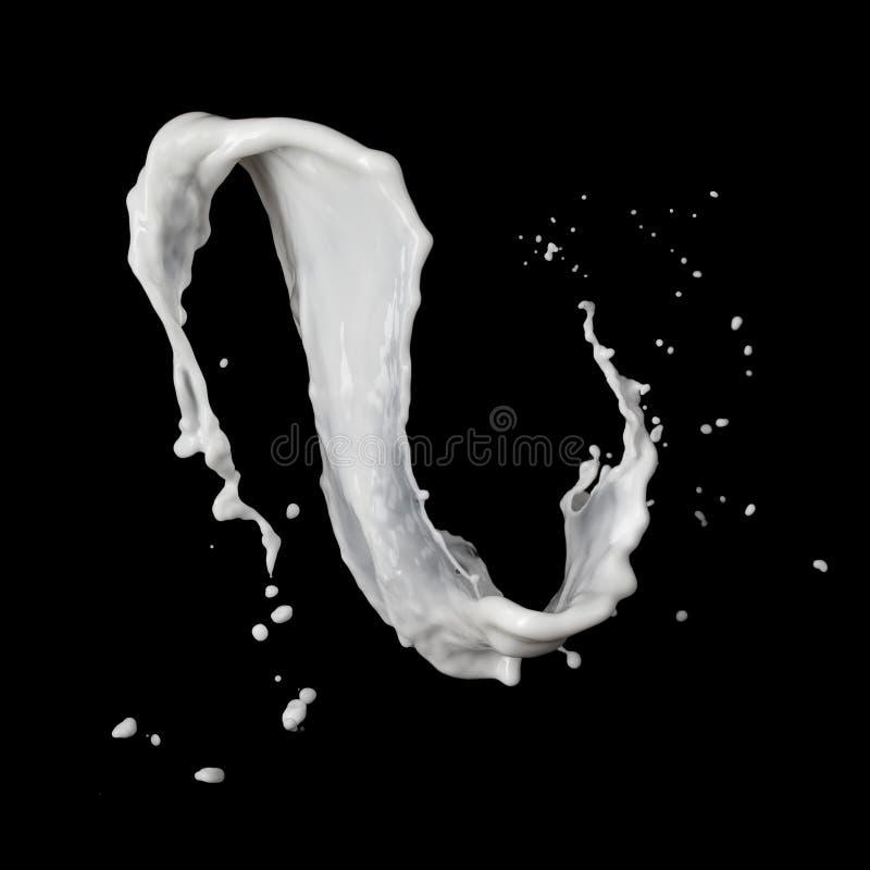 De plons van de melk die op zwarte wordt geïsoleerdr royalty-vrije stock foto
