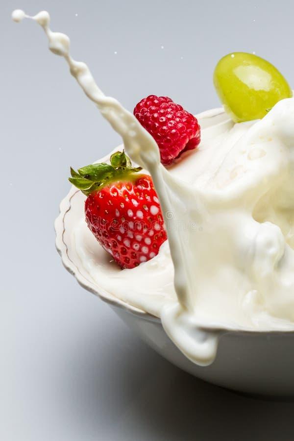 De plons van de melk met verse vruchten royalty-vrije stock fotografie